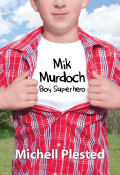 Cover of the book, showing a young boy opening his red shirt to reveal another (white) shirt underneath (Superman style), with the book's title on the shirt underneath.